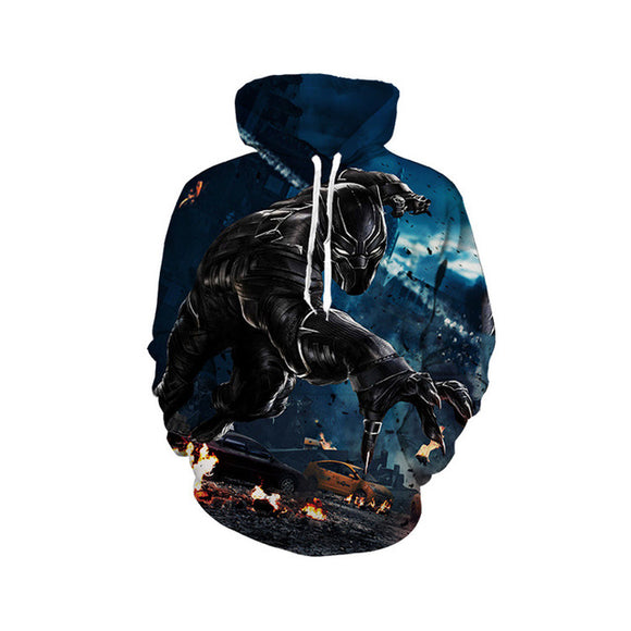 Men's 3D Print Black Panther Pullover Hooded Sweatshirt Hoodies with Big Pockets-Fandomsky