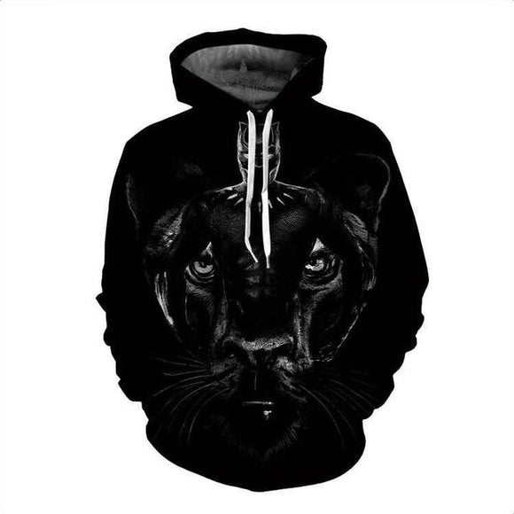 3D Print Black Panther Men's Pullover Hooded Sweatshirt Hoodies-Fandomsky