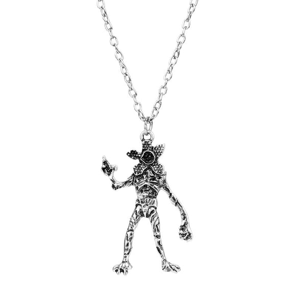 Stranger Things Necklace Vintage Silver Demodog Demogorgon Monster Pendant Cosplay Jewelry Men Women Gifts-Fandomsky