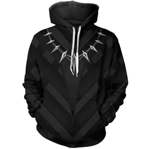 Black Panther Men's Realistic 3D Print Pullover Hooded Sweatshirt Hoodies with Big Pockets-Fandomsky