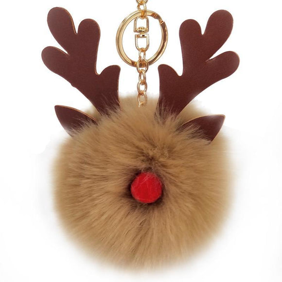 Christmas Plush Pom Pom Elk Decoration Lovely Fluffy Key Holder