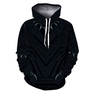 3D Print Pullover Black Panther Men's Hooded Sweatshirt Hoodies with Big Pockets-Fandomsky