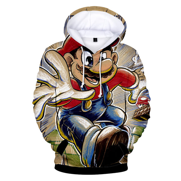 Unisex 3D Print Super Mario Cartoon Hoodie Hooded Sweatshirt-Fandomsky
