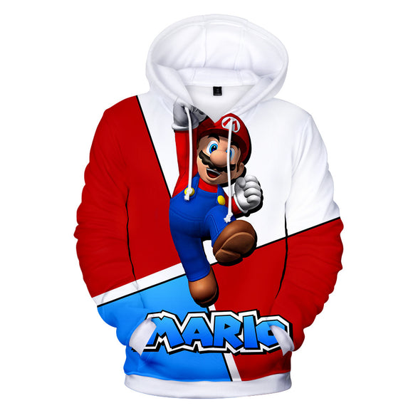 Mario Logo Unisex 3D Print Super Mario Cartoon Hoodie Hooded Jacket-Fandomsky
