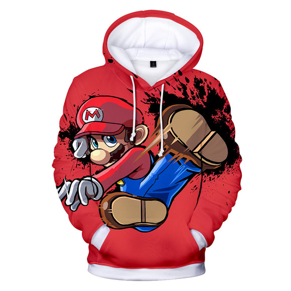 Mario Kicking Unisex 3D Print Super Mario Cartoon Hoodie Hooded Jacket-Fandomsky