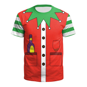 Men Santa Claus Costume Print Novelty Christmas Holiday Humor T-shirt-Fandomsky