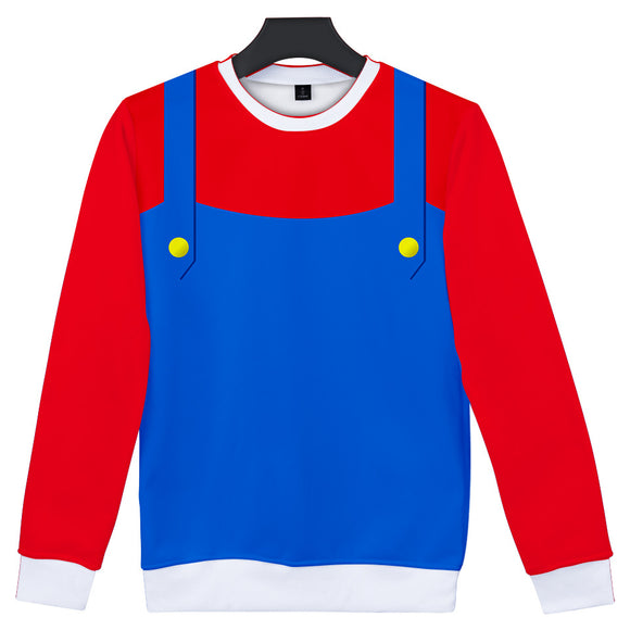 Super Mario Pipe Worker Cosplay Costume Long Sleeve Shirt-Fandomsky