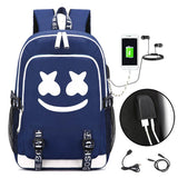 DJ Marshmello School Bag Backpack, Luminous Children Bookbag Backpack with USB Charging Port