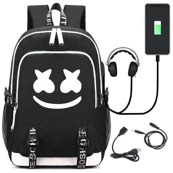 DJ Marshmello School Bag Backpack, Luminous Children Bookbag Backpack with USB Charging Port-Fandomsky