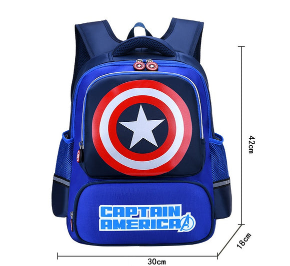 3D Print Captain America School Bag Kids Light Cartoon Casual Backpack 2 Colors-Fandomsky