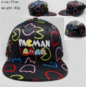 Pac Man All Over Print Logo Adjustable Snapback Cap/Hat-Fandomsky