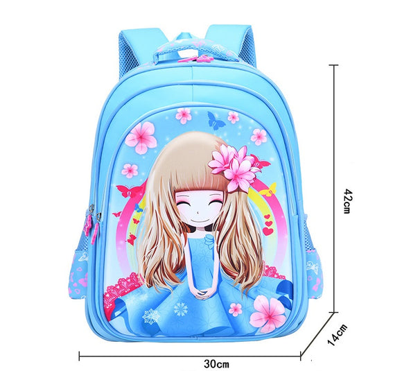 3D Print School Bag Flower Girl Kids Light Cartoon Casual Backpack 3 Colors-Fandomsky