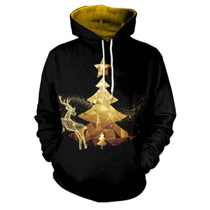 Unisex Realistic 3D Print Christmas Pullover Hooded Sweatshirt