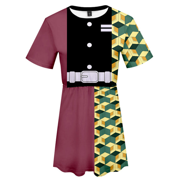 Demon Slayer: Kimetsu no Yaiba Tomioka Giyuu Cosplay Dress Women Summer Short Sleeve Cosplay Costume