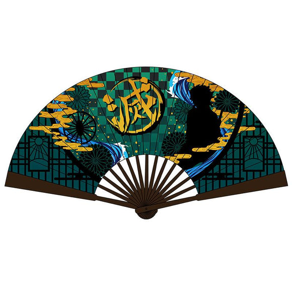Anime Demon Slayer: Kimetsu No Yaiba Kamado Tanjirou Cosplay Folding Hand Fan Props Decoration