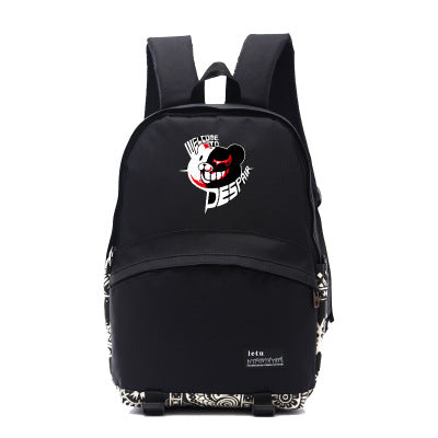 DANGANRONPA Mono Kuma Carvas Backpack Black-Fandomsky