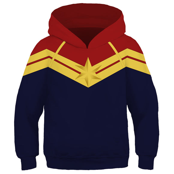 Kid Avengers Captain Marvel Hoodie Hooded Sweatshirt Pullover Costume Unisex