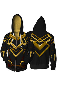 Men's The Avengers Endgame Black Panther 3D Printed Hoodie Zip-up-Fandomsky