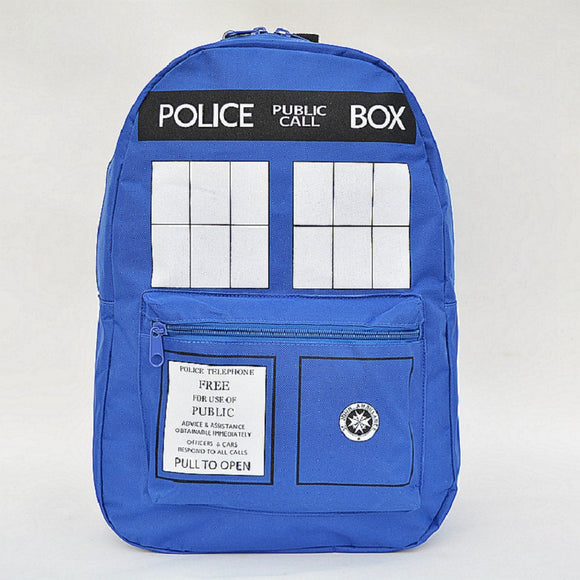 Doctor Who TARDIS Backpack Schoolbag Police Box-Fandomsky
