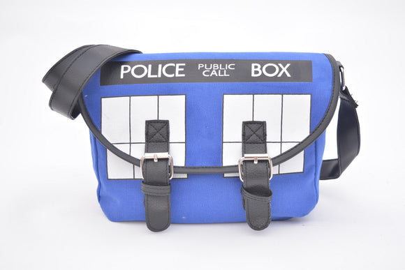 Doctor Who Tardis Messenger Bag, Blue, One Size Casual-Fandomsky