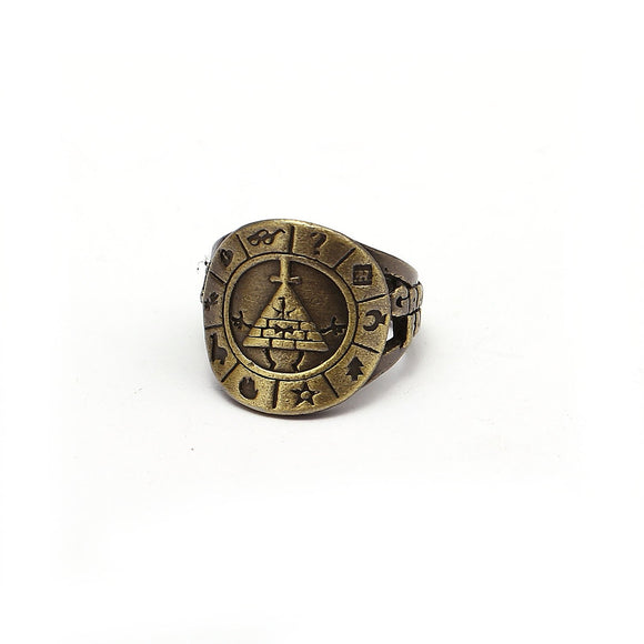 Gravity Falls Wheel Bronzetone Ring-Fandomsky