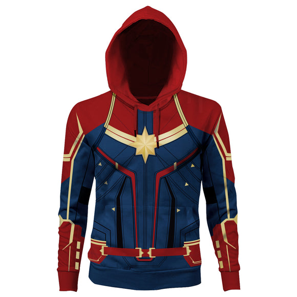 The Avengers Captain Marvel Hoodie Hooded Sweatshirt Pullover Costume Unisex