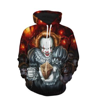 Unisex IT Pennywise Hoodie Horrible Clown 3D Print Sweatshirt