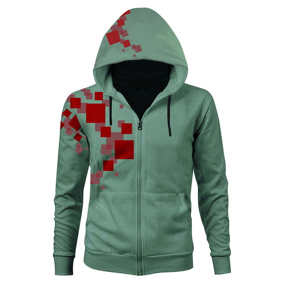 Unisex Komaeda Nagito Cosplay Hoodies Super Danganronpa 2 Zip Up 3D Print Jacket Sweatshirt