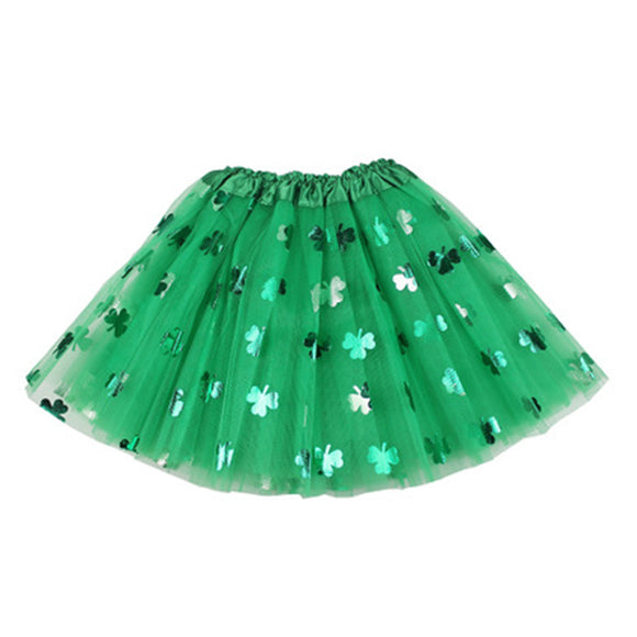 Women St. Patrick's Day Skirt Green Shamrock Mesh Skirts Girls Wearing Clothing
