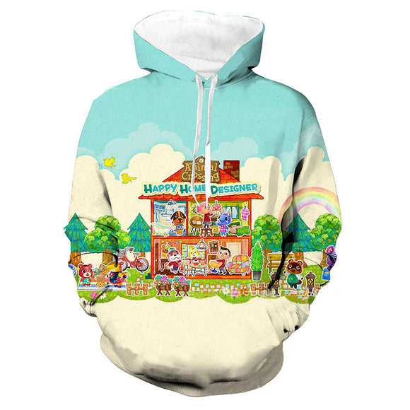 Unisex Animal Crossing Hoodies Teens Novelty Hooded Sweatshirts Spring Pullover Outerwear Sportswear