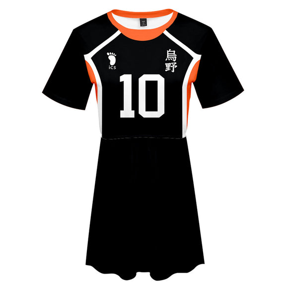 Haikyuu!!	Hinata Shoyo Cosplay Dress Women Summer Short Sleeve Cosplay Costume