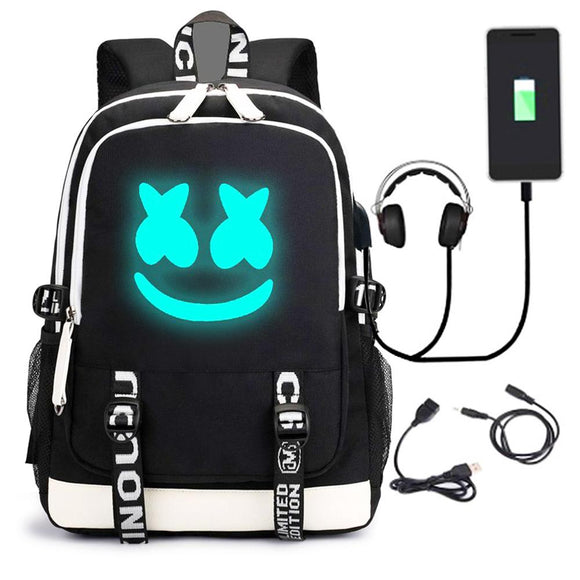 DJ Marshmello School Bag Backpack, Luminous Children Bookbag Backpack with Hat-Fandomsky