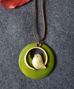 Beautiful Brown Handmade Wood with Bird Pendant Vintage Long Necklace for Women Jewelry
