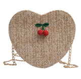 Women Girl Fashion Cherry Accessories Solid Color Messenger Bag Love Woven Bag