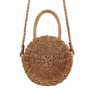 Straw Beach Bag Crossbody Summer Beach Tote with Top Handles-Fandomsky