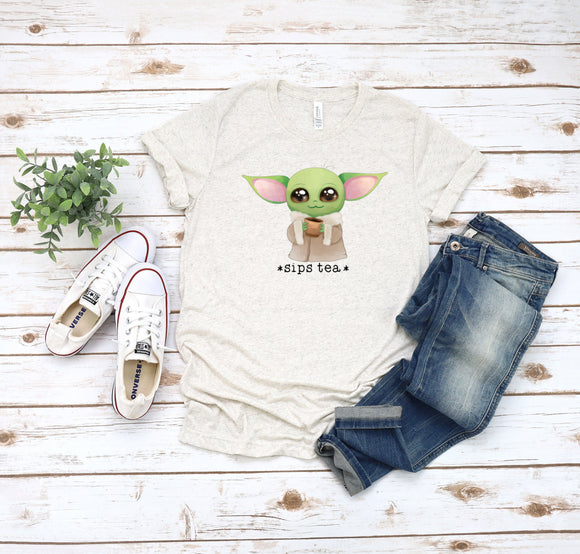 Unisex Star Wars Cute T-shirt Baby Yoda Print Short Sleeve T-shirt