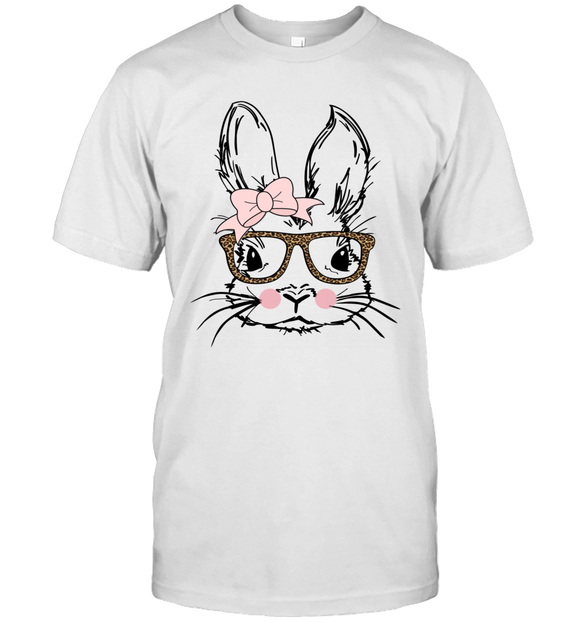 Easter Bunny Face Leopard Print Glasses Funny Easter Day T-shirt Casual Street Shirts