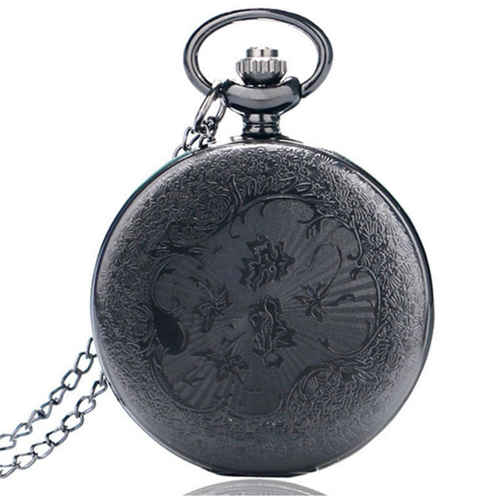 Black Pocket watch Quartz Steampunk