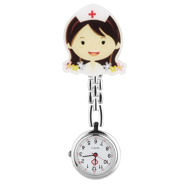 10 styles, Cute Cartoon Girl Clip Nurse Doctor Pendant Pocket Watch