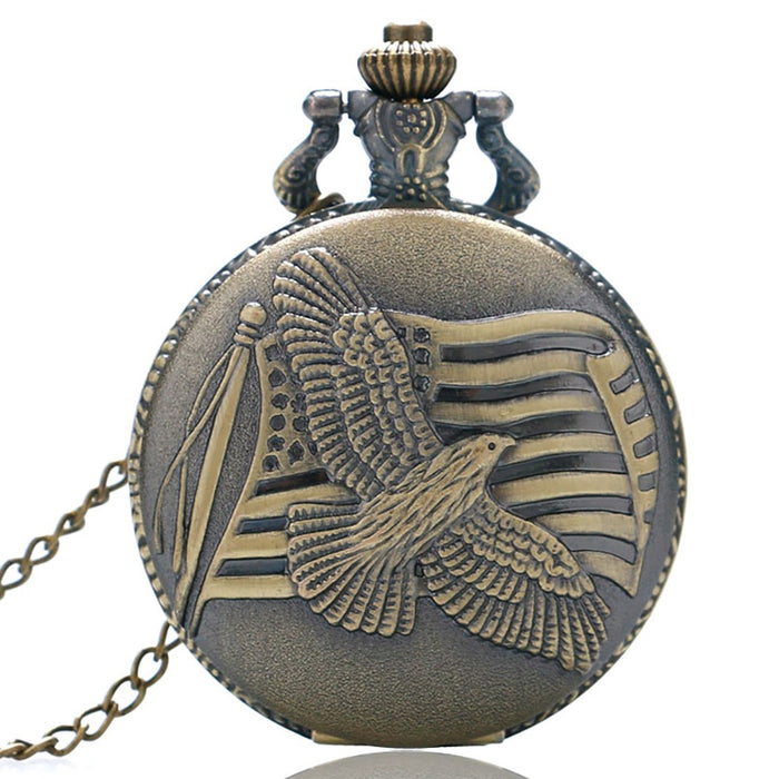 Vintage Pocket Watch, Bronze Dove of Peace Quartz Pocket Watch