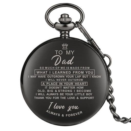 Fathers Engraved Greeting Words I LOVE YOU Theme Quartz Pocket Watch