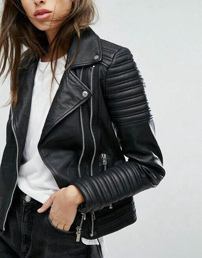 Women Smooth Motorcycle Faux Leather Jackets Winter Biker Streetwear Black Coat