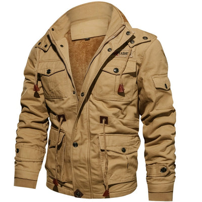 Men's Winter Fleece Jackets Warm Hooded Coat Thermal Thick Outerwear Male Military Jacket