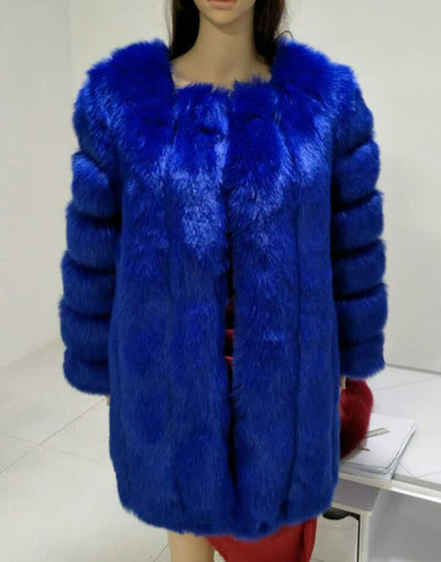 Faux Fox Fur Coat Slim Long Royal Blue Fur Coat
