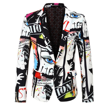 Mens Fashion Print Blazer Hip Hot Casual Slim Fit Suit Jacket - Top Sale Item