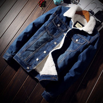 Warm Fleece Denim Jacket Fashion Mens Jean Spring Jacket - Top Sale Item