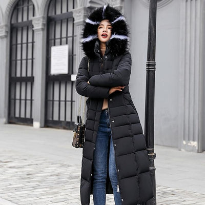 Winter Women Long Cotton Parkas Large Fur Collar Hooded Coat