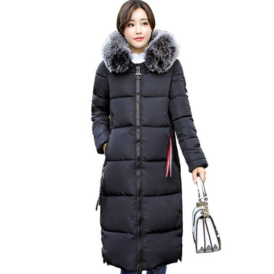 Down Parkas Winter Jacket Big Fur Thick Slim Long Coat - Top Sale Item