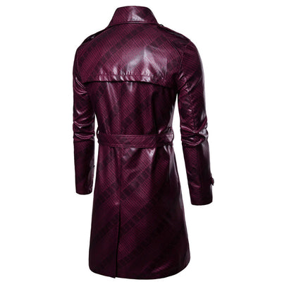 Leather Trench Coat Mens Long Faux leather Jacket - Top Sale Item