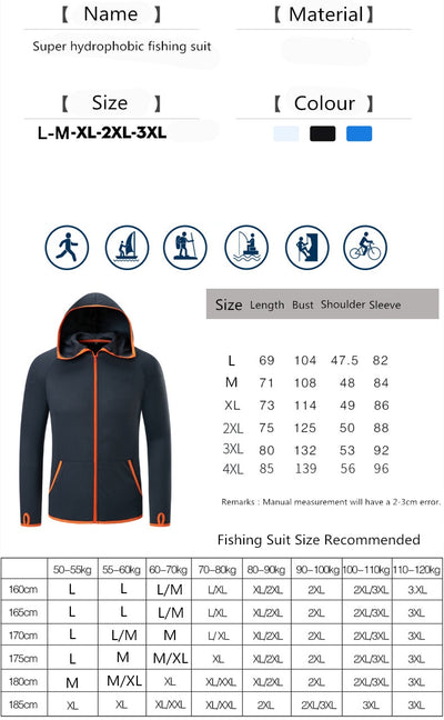 Hydrophobic Fishing Clothing Hooded Ice silk Men Jacket Quick-Drying Coat - Top Sale Item